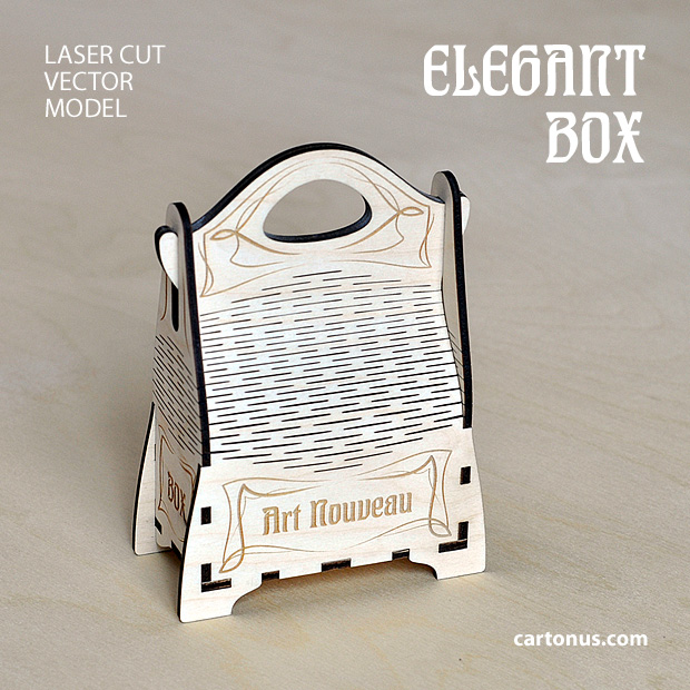 Elegant gift box with handle. Art nouveau style. Lasercut vector model project plan with engraving. 2 patterns. Small and big size. Small box preview