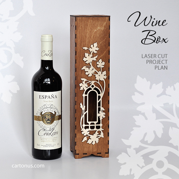 Wooden wine box with window and decorative frame. Bottom location