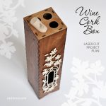 Wooden wine cork collections box with window and decorative frame. Pattern for laser cut