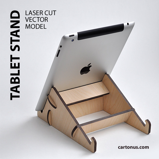 Tablet stand project plan. Back view. Ready for laser cut