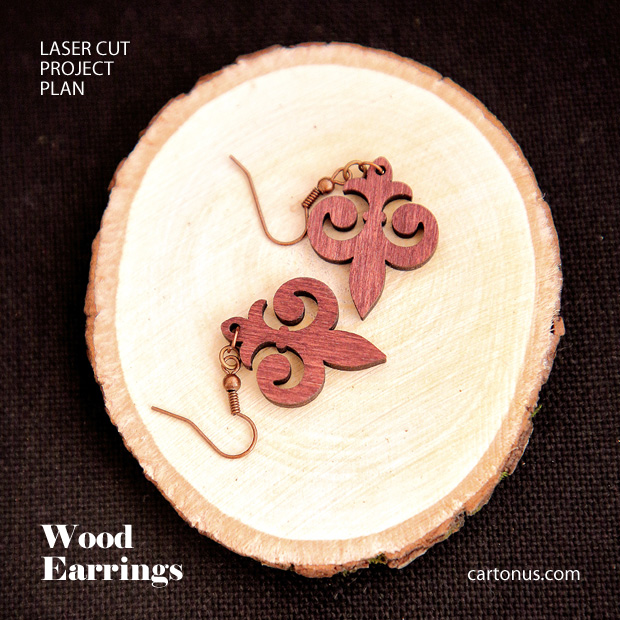 Jewelry, earrings, brooches, culones laser cut free project plan. Wood earrings