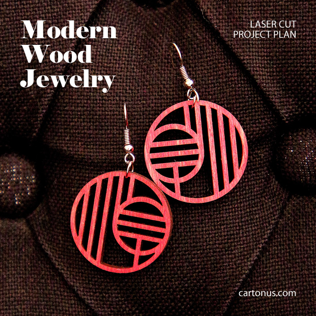 Jewelry, earrings, brooches, culones laser cut free project plan. Modern earrings