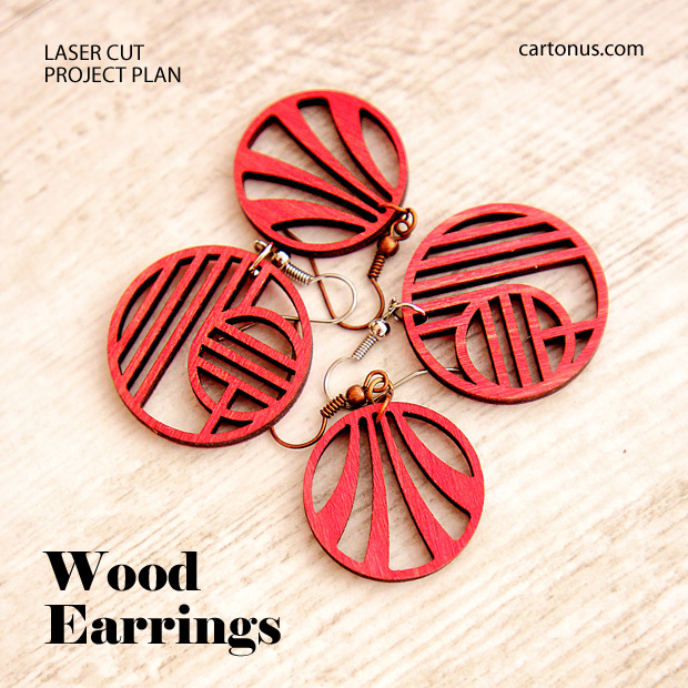 Jewelry, earrings, brooches, culones laser cut free project plan. Modern