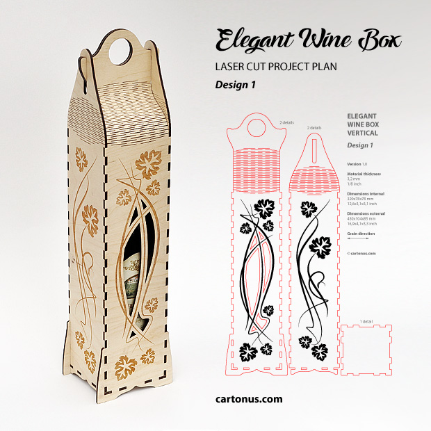 Elegant wine box vertical. Lasercut vector model, project plan. Design 1. Art nouveau style