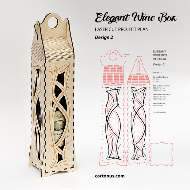 Elegant wine box vertical. Lasercut vector model, project plan. Design 2. Art nouveau style