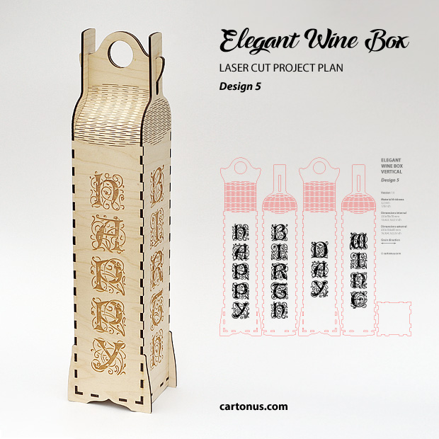 Elegant wine box vertical. Lasercut vector model, project plan. Design 5. Happy birthday