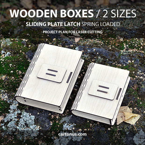 Box with sliding plate latch spring loaded. 2 sizes