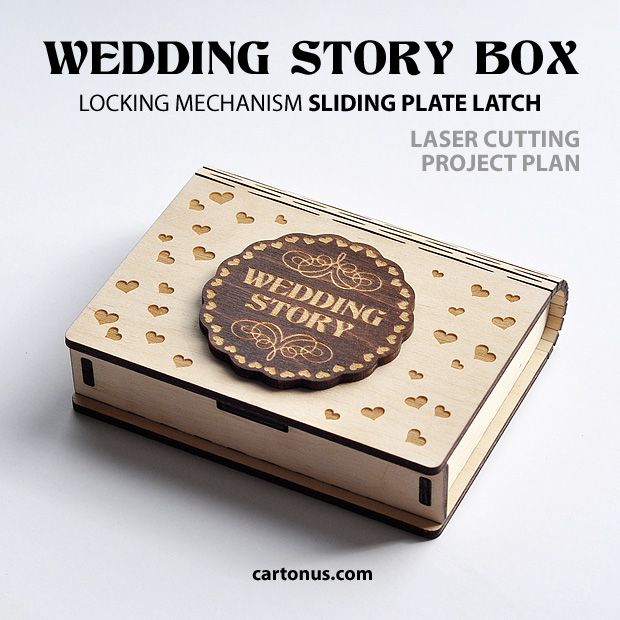 Box with sliding plate latch spring loaded. Wedding story box
