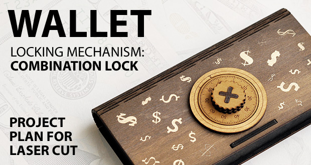 Wooden box like a wallet with a pseudo combination lock