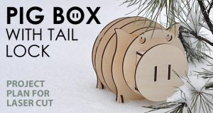 Pig box with tail lock. Lasercut vector model. Project plan