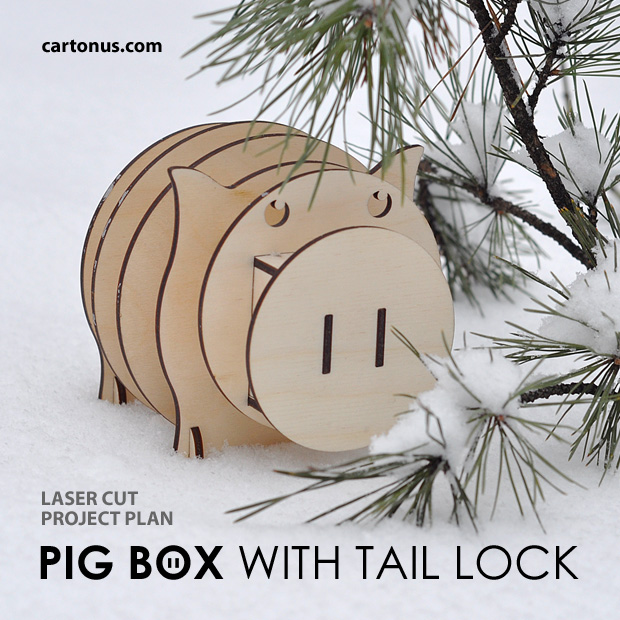 Pig box with tail lock. Lasercut vector model. Project plan. Pig on snow