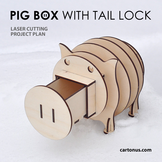 Fun box in the form of a pig with a secret retractable drawer.  The drawer is locked by turning of tail. Opened