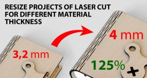 Resize projects of laser cut for different material thickness