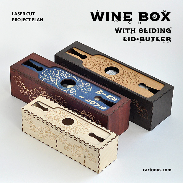 Wine box with sliding lid-butler. Project plan for laser cutting and engraving. 3 wooden boxes for wine