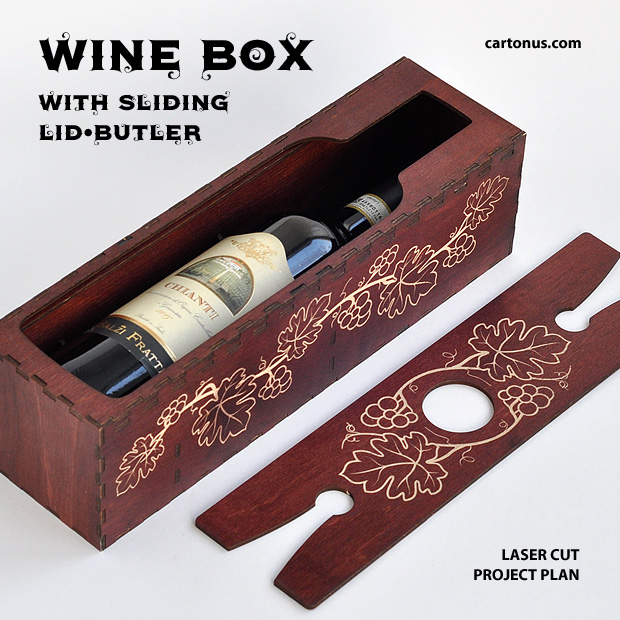 Wine box with sliding lid-butler. Project plan for laser cutting and engraving. Big opened box