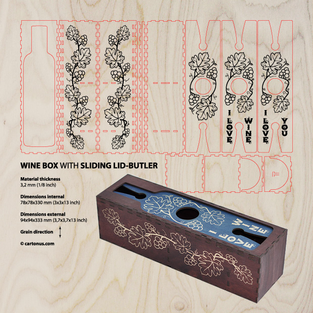 Wine box with sliding lid-butler. Project plan for laser cutting and engraving preview