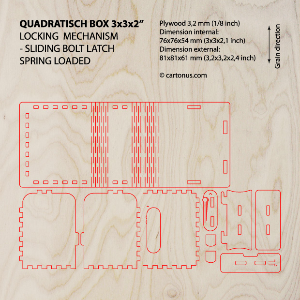 Quadratisch box with sliding bolt latch spring loaded project plan