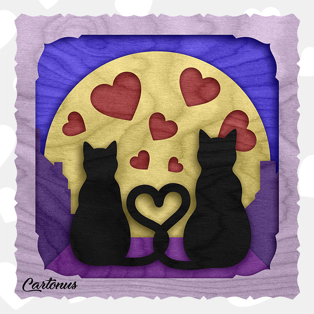 Cats in love. Multi-layered artwork pattern. Scalable vector graphics for laser cut, cnc, scroll saw