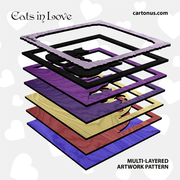Cats in love. Multi-layered artwork pattern. Scalable vector graphics for laser cut, cnc, scroll saw. Stack