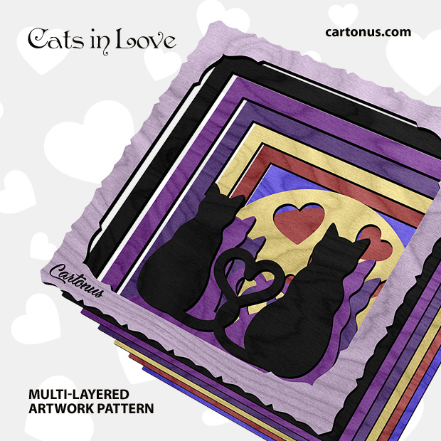 Cats in love. Multi-layered artwork pattern. Scalable vector graphics for laser cut, cnc, scroll saw. Assembling
