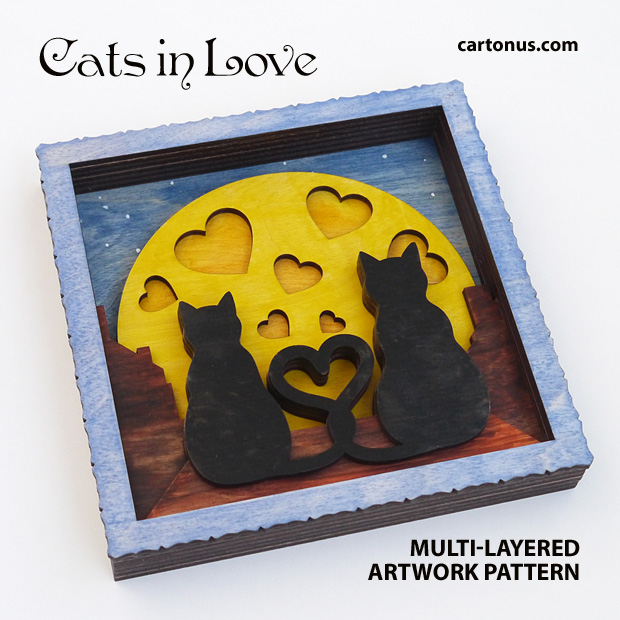 Cats in love. Multi-layered artwork pattern. Scalable vector graphics for laser cut, cnc, scroll saw,