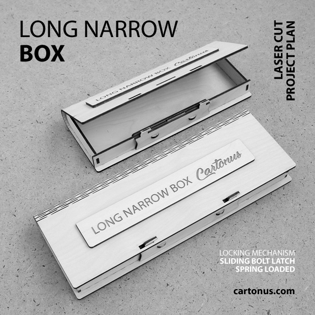 Long narrow box with sliding bolt latch spring loaded. Lasercut vector model, project plan. Black and white view