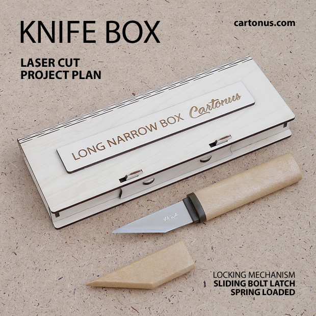 Long narrow box with sliding bolt latch spring loaded. Lasercut vector model, project plan. Knife wooden box