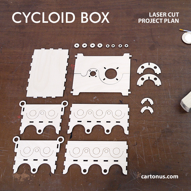 Cycloid box. Lasercut vector model, project plan. Modern, art-deco, steampunk wooden box. Details