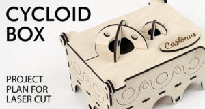 Cycloid box. Lasercut vector model, project plan. Modern, art-deco, steampunk wooden box. Featured photo