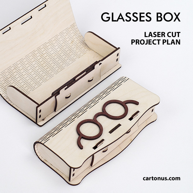 Glasses box with sliding bolt latch spring loaded and living hinges. Lasercut vector model. Project plan for laser cutting. 2 Patterns