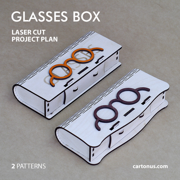 Glasses box with sliding bolt latch spring loaded and living hinges. Lasercut vector model. Project plan for laser cutting. 2 wooden boxes for glasses