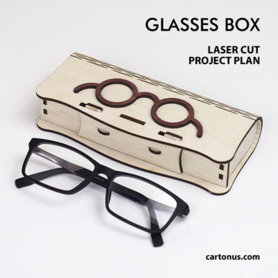 Glasses box with sliding bolt latch spring loaded and living hinges. Lasercut vector model. Project plan for laser cutting