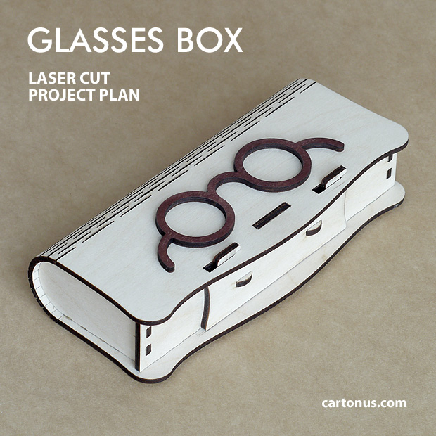 Glasses box with sliding bolt latch spring loaded and living hinges. Lasercut vector model. Project plan for laser cutting. Dark