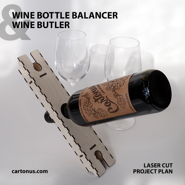 Floating Wine Bottle Holder and Wine Butler. Lasercut vector model. Project plan for laser cutting.