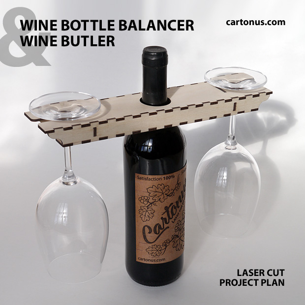 Self Balancing Wine Bottle Display Holder - Wine butler. Lasercut vector model. Project plan for laser cutting