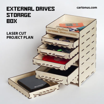 External drives storage box. Lasercut vector model