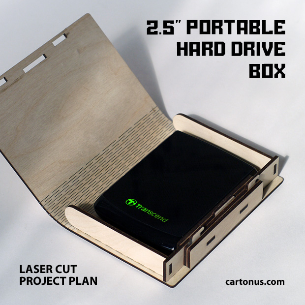 External hard disk safety box. Pattern DXF for lasercut wood