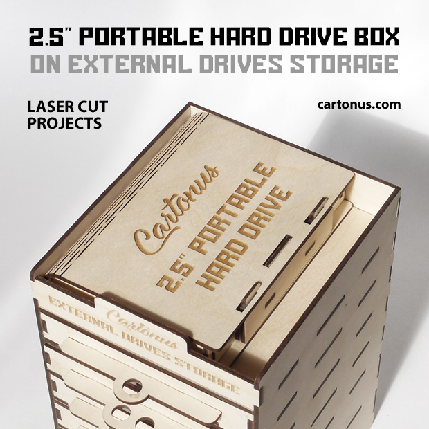 Portable hard drive box placed on external drives storage. Vector models for laser cut