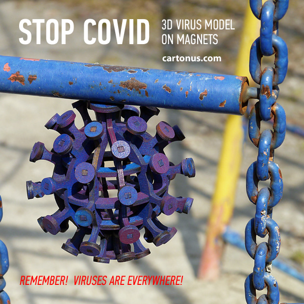 Stop Covid stand. Lasercut vector model. Project plan for laser cutting. Covid-19 coronovirus 3d puzzle model on metall object