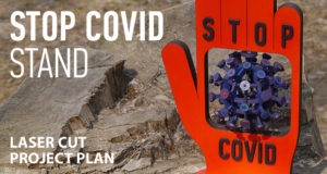 Stop Covid stand. Lasercut vector model. Project plan for laser cutting. Featured image