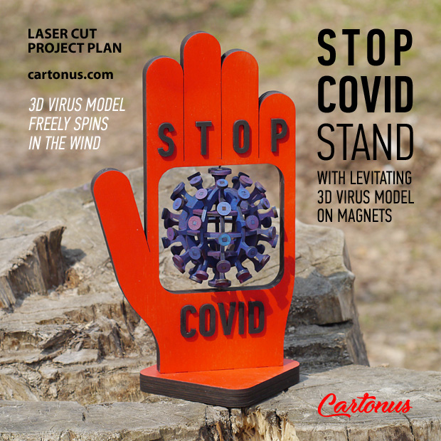 Stop Covid stand. Lasercut vector model. Project plan for laser cutting. Outdoor