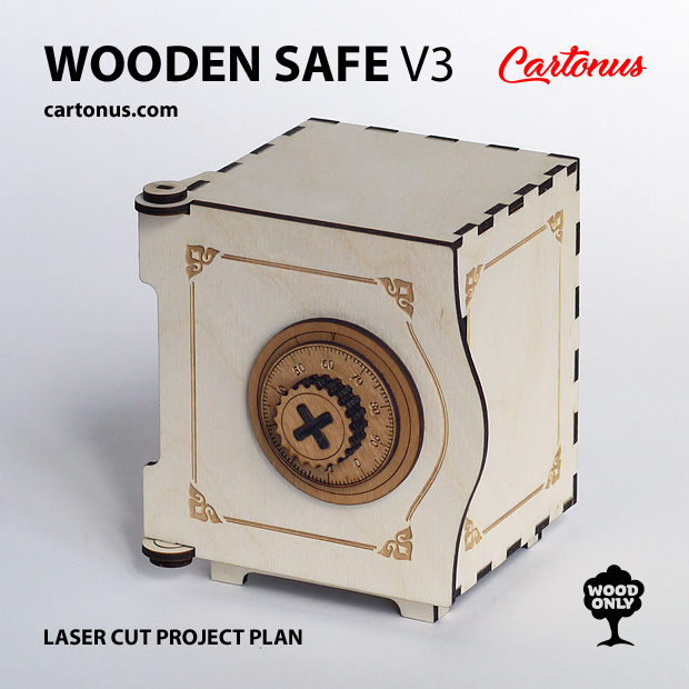 Wooden safe V3. Lasercut vector model. Project plan for laser cutting