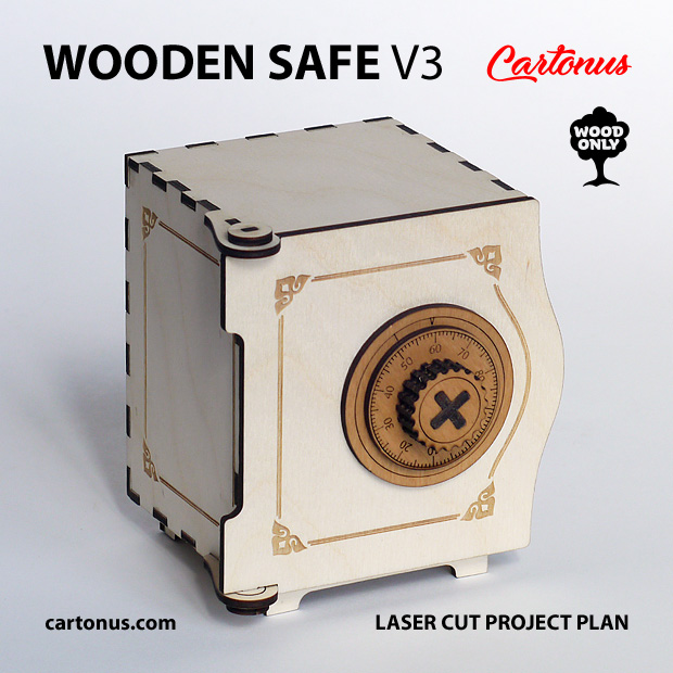 Wooden safe V3. Lasercut vector model. Project plan for laser cutting. Only wooden elements