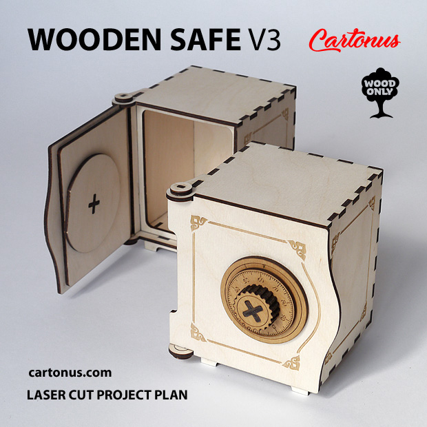 Wooden safe V3. Lasercut vector model. Project plan for laser cutting. Open safe without money and closed safe