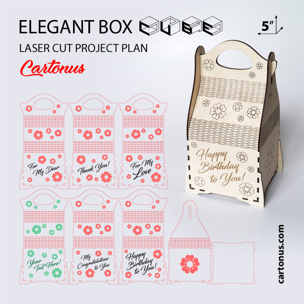 Elegant box cube. Elegant box pattern file for gift pack. Art deco style. Project plan for laser cutting and engraving. 5 inches box. 5 Patterns files.