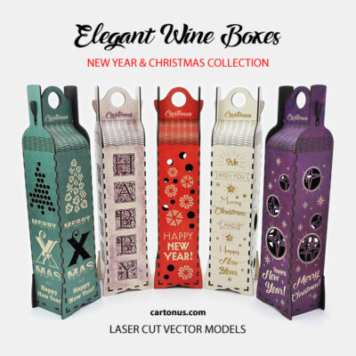 Elegant wine boxes - New Year and Christmas collection. 5 templates in 1 set. Ready for laser cutting and engraving