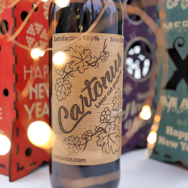 Elegant wine boxes - New Year and Christmas collection. 5 templates in 1 set. Ready for laser cutting and engraving. Cartonus bottle