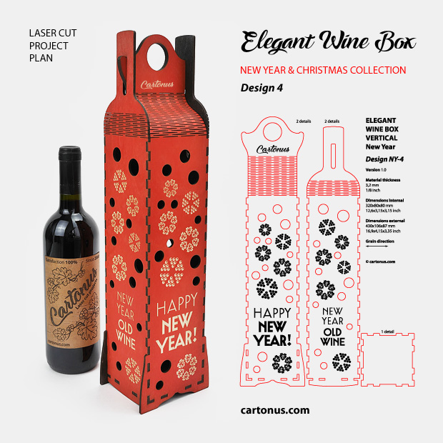 Elegant wine box - New Year and Christmas collection. Design 4. Ready for laser cut and engrave