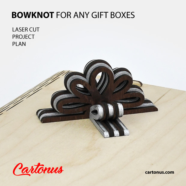 Layered wooden bowknot for any boxes