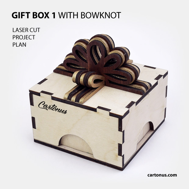 Gift box with layered wooden bowknot. Pattern 1